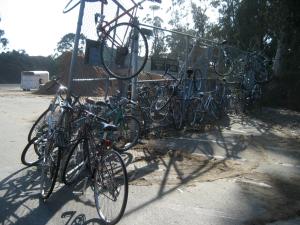 Bikes on fence